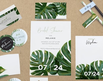 Summer, Palm Leaf, Palm Tree, California Tropical Bridal / Wedding Shower Printable Party Decor. Invitations, games & banners.