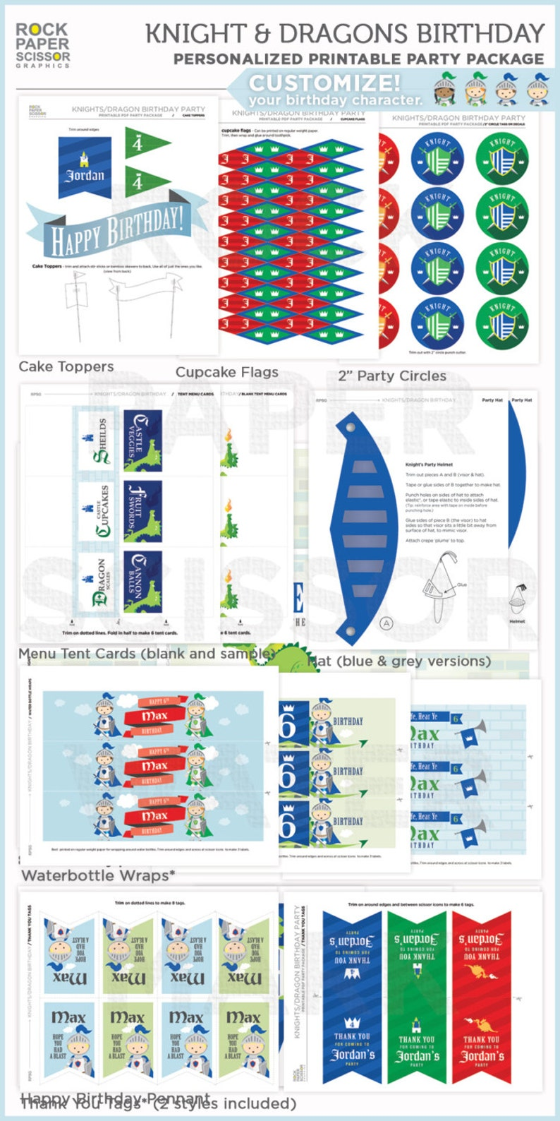 Downloadable Party Decorations Boy/'s Knights /& Dragons Printable Birthday Party