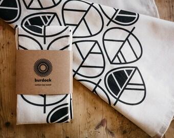 Leaves - screen printed tea towel