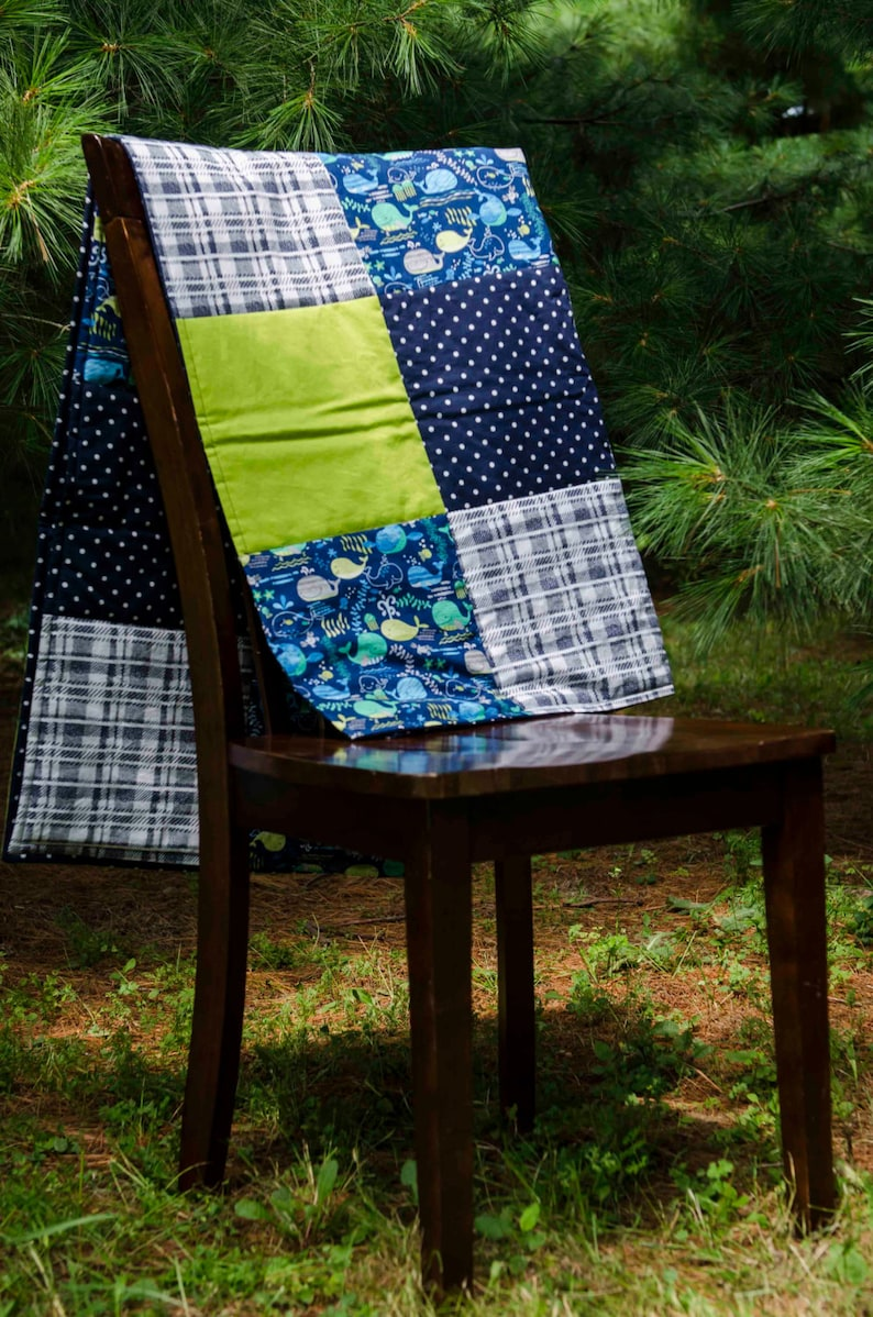 modern baby quilt. Baby boy bedding polka dots- Boys Baby Quilt--Blue and Green--Whales--Navy and Lime--Plaid