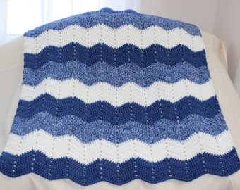 Chevron or Ripple Crochet Baby Afghan in Blue and White