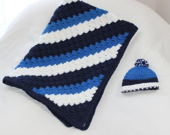 Blue Striped Corner to Corner Crochet Baby Afghan with Matching Hat