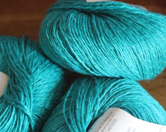 Yarn 50 gram ball blend linen, cotton, nettle fiber and silk