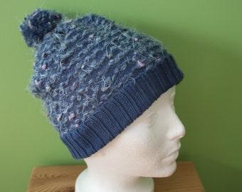 Pom Pom winter hat in Merino Wool, winter hat, warm hat, natural fiber, soft hat, blue beanie winter Hat