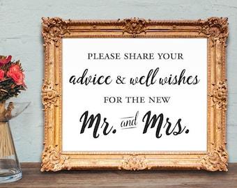 Spanish wedding guest book sign - por favor comparta sus consejos y deseos para el nuevo Sr. y Sra.- 8x10 - 5x7 PRINTABLE