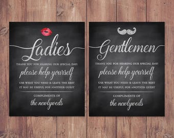 0990100d5af87 Wedding bathroom basket signs - womens and mens hospitality basket - his  and hers bathroom signs - help yourself rustic PRINTABLE 8x10 - 5x7