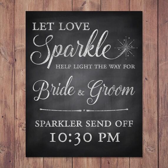 Wedding Sign 8x10 Let Love Sparkle