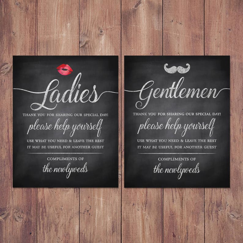 Genial Wedding Bathroom Basket Signs Womens And Mens Hospitality | Etsy
