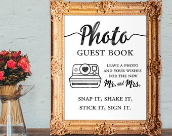 photo guest book - leave a photo and your wishes for the new mr and mrs - wedding guest book - 8x10 - 5x7 PRINTABLE