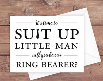 will you be our ring bearer card - time to suit up little man - suit up ring bearer - funny ring bearer card - greeting card - PRINTABLE