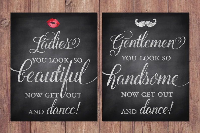 Exceptionnel Wedding Bathroom Signs Rustic Womens And Mens Restroom | Etsy