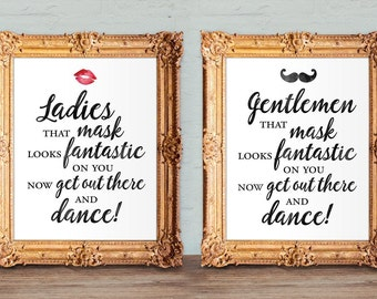 Wedding bathroom basket signs - wedding mask sign - that mask looks fantastic on you - womens and mens hospitality basket - 8x10 - 5x7