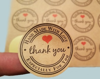 THANK YOU STICKERS 240pcs, 120pcs, hand made stickers, packaging stickers, handmade with love, kraft stickers, gift tags, thank you decal