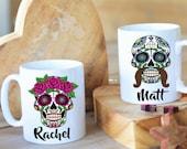 SUGAR SKULL Women Men PERSONALISED couple mugs. Pink Skull, sugar candy, halloween mug, Mexican skull, Day of the dead custom mug