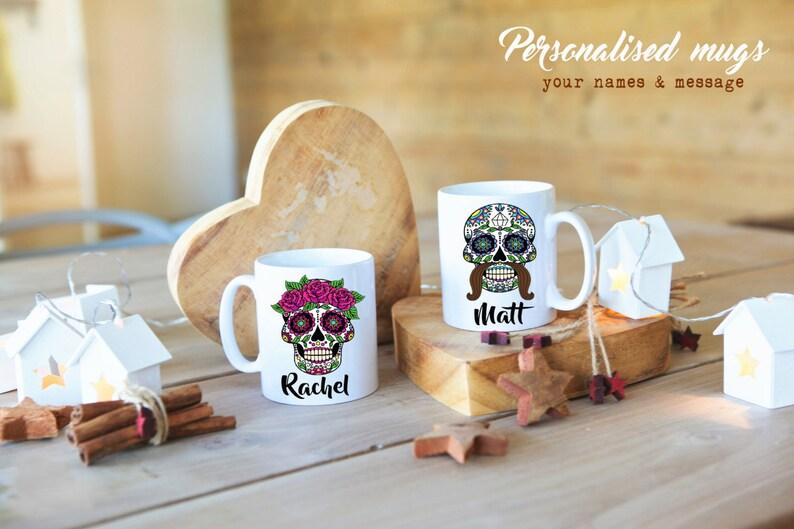 SUGAR SKULL Women & Men PERSONALISED couple mugs. Pink Skull image 0