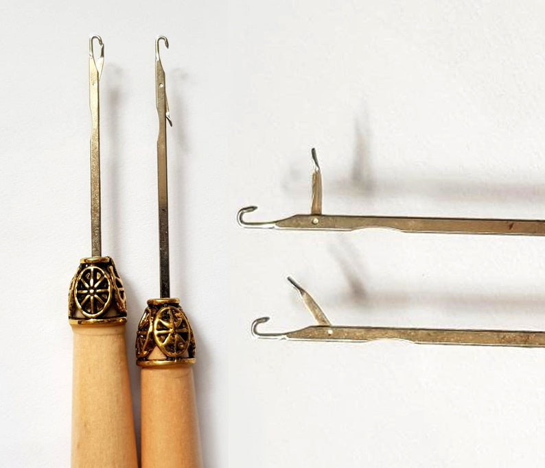 Latch Hook Needle Bamboo Afghan Tunisian Double Ended Crochet Etsy