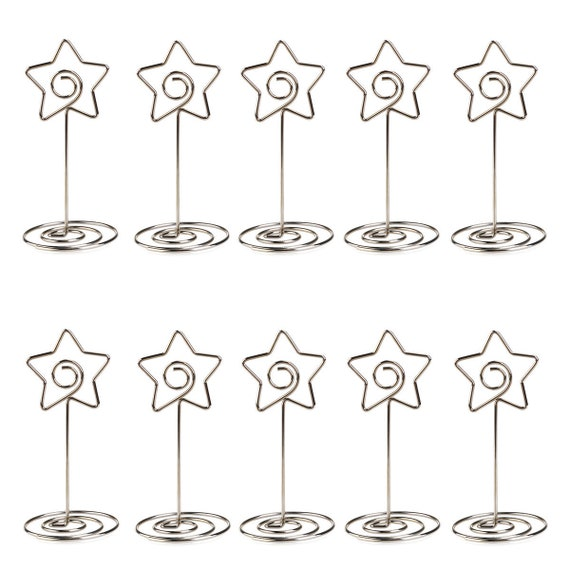 photo holder 102050 STAR Place card holder guest place Silver wire wedding name card stand reception seating card table number