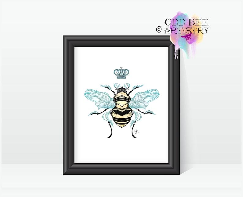 Queen Bee Tattoo Art Print Print Of Original Artwork Etsy