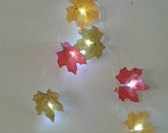 Led String #Fairy Lights - autumn leaves# night lights, battery operated, party lights, wedding, home decor