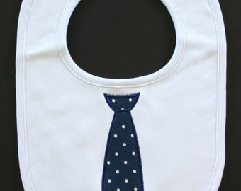 Navy Tie Baby Boy Bib, Personalized Bib, Applique Bib, Baby Gift