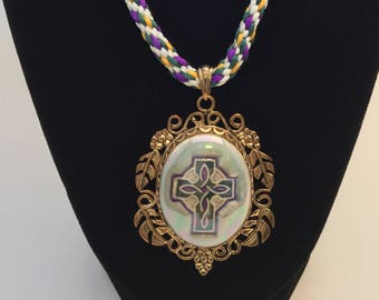 Porcelain Cross Pendant and Silk Kumihimo Necklace