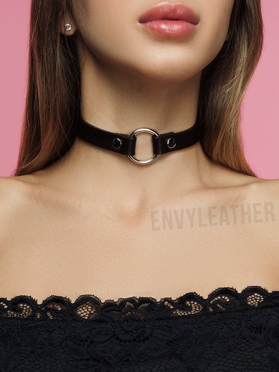 Black D Ring Collar Black D Ring Choker Black O Ring Choker Slave Collar BDSM Collar Black O Ring Collar Black D and O ring Choker