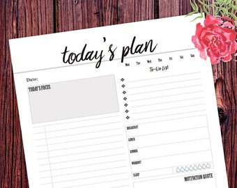 A5 Planner Inserts, Daily Planner Printable, 2017 Daily Planner, Schedule, Agenda Page, A4 Filofax Insert, Weekly, Daily To Do List, Kikki K