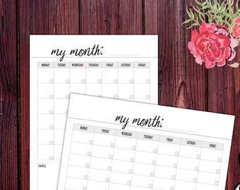 Calendar Template Printable, Blank Calendar, Calendar 2018, Monthly Calendar, Desk Calendar, Planner 2018, Printable Calendar, Planner Page