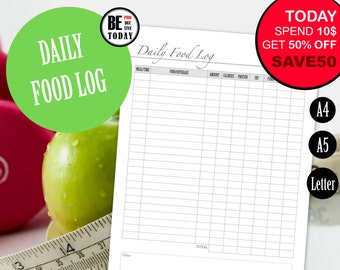 printable food diary etsy