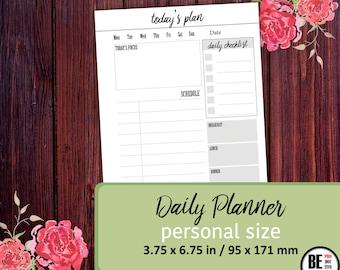 Daily Planner PERSONAL, Daily Schedule, Personal Planner Insert, Filofax Personal, Compact, Kikki K Medium, Daily Agenda, Personal Organizer