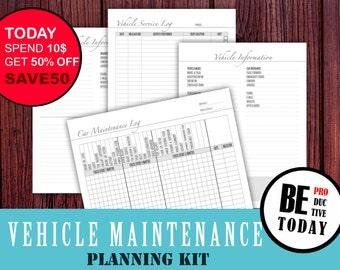 Vehicle Maintenance, Car Maintenance Log, Service Tracker, Planner Inserts, Automobile, Erin Condren, Family Binder, Household Planner, PDF