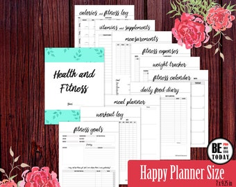 Printable Fitness Planner, Happy Planner, Fitness Journal, Health Planner, Weight Loss, Workout Log, Fitness Tracker, Food Diary, PDF Pages