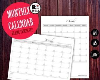 Printable Calendar Template, Filofax Calendar 2018, Blank Calendar, Monthly Calendar Planner, 2018 Calendar, A5 Filofax Inserts, Kikki K A4