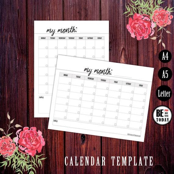 Kalender Vorlage druckbare leere Kalender Kalender 2018 | Etsy