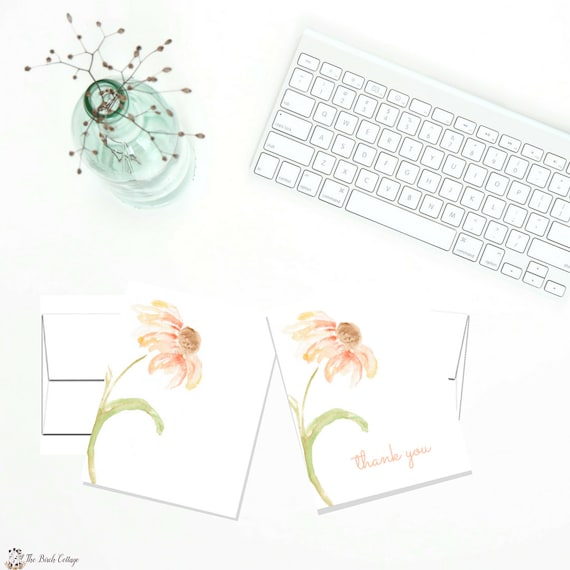 printable thank you note cards set of 2 digital note cards etsy
