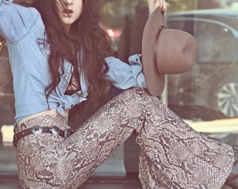 MADE TO ORDER +++ High-Waist or Low-Rise | Brown Snakeskin | Bellbottom | Flares | Bohemian Rocker Qypsy Queen Dream