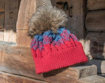 Knit Beanie Hat Womens Hat - Red and Blue Hat Wool Knit Hat - Red and Blue Hat Winter Hats Red and Blue Beanie Womens Accessories