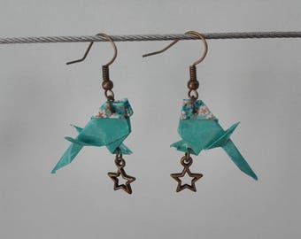 Chickadee origami and star earrings