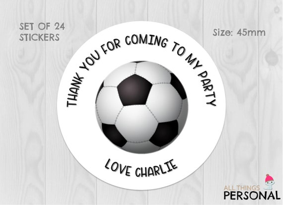 Personalised Football Birthday Stickers Party Thank You Sweet Cones Labels 012