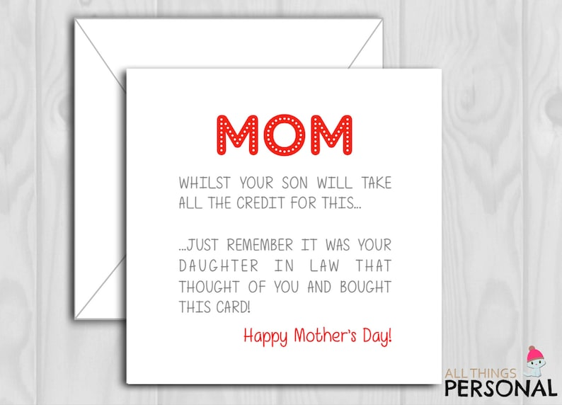 Mother In Law Mothers Day Cards Mother In Law Mother Day Etsy