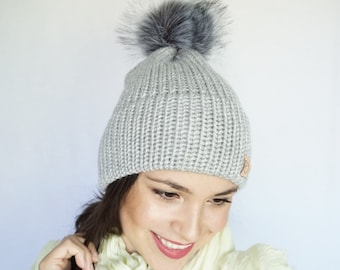Knitted Hat, Double Brim Beanie, Pompom Hat, Simple pompom hat, Double Brim Hat, Faux Fur Pompom Hat, Faux Fur pompom Beanie, Winter hat