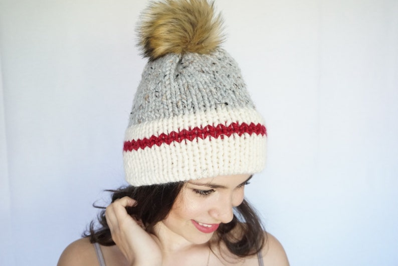 74ea2113307d0 Sock Monkey Hat, Hand Knit Hat, Winter Knit Beanie, Lumberjack Hat, Winter  Toque, Chunky Beanie, True North Beanie, Double Brim Hat