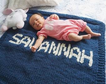 Baby Blanket, Personalized Knitted Blanket for Bassinet, Stroller Blanket, Crib Blanket, Custom Knitted Baby Blanket, Baby Blanket with Name