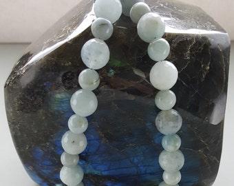 Faceted Genuine Aquamarine Beaded Necklace