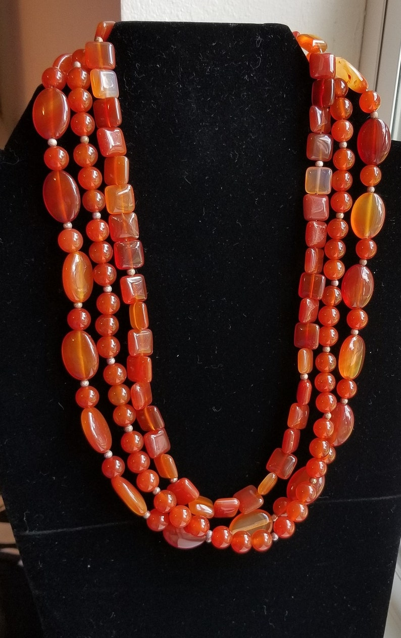 Carnelian 3 Strand Necklace