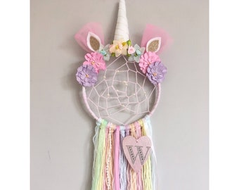 Personalised Unicorn Dreamcatcher with added webbing/Nursery decor