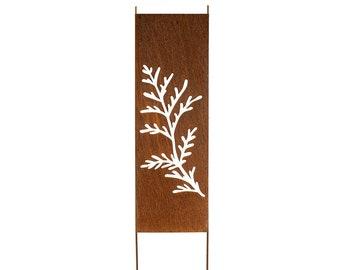 """Tree Branch Rusty Privacy Screen, Garden Panel, 60x16"""", Garden Décor with Garden Stakes, Cedar Branch"""