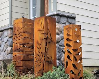 Garden Columns, Landscape Design, Bamboo, Planter, Lighting Box, Steel Bollards