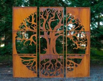 Tree of Life Metal Privacy Screen Set of 3, Large Home & Garden Décor, Metal Garden Art, Rusty Metal
