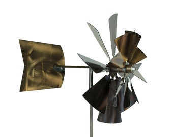 Double Wind Spinner Windmill Metal Garden Wind Spinner   Etsy